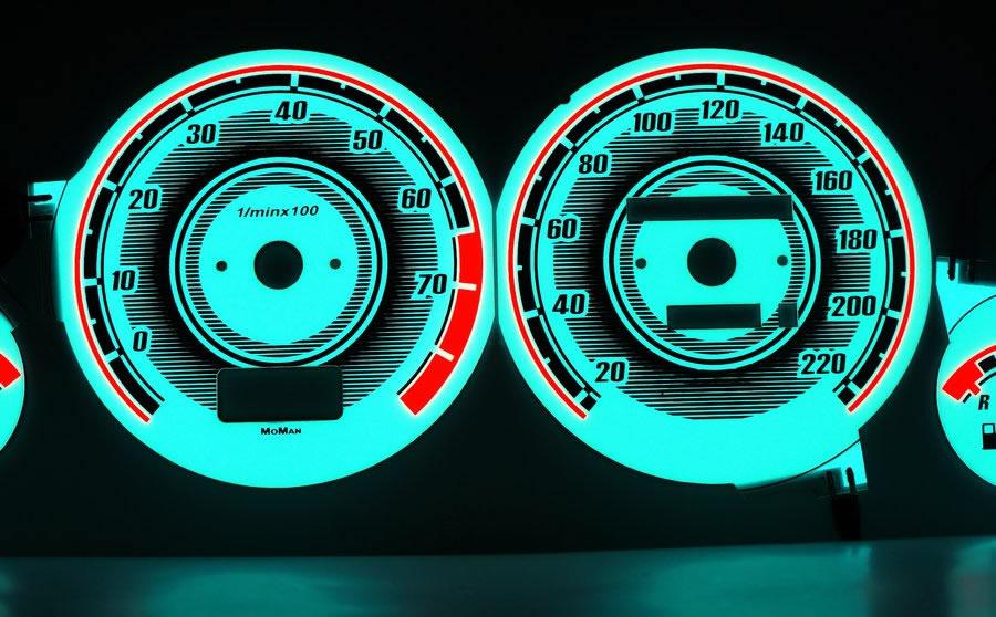 Audi 80, 90 B3, B4 светящиеся шкалы приборов - накладки на циферблаты панели приборов, дизайн 3. Универсальные товары...
