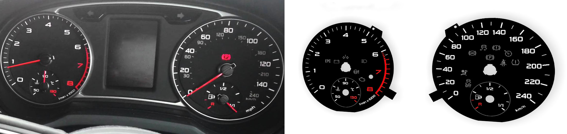 Audi A1 Replacement tacho dial - converted from MPH to Km/h