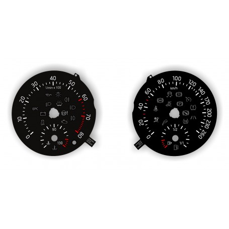 Skoda Roomster 2012-2015 - Replacement tacho dial - converted from MPH to Km/h