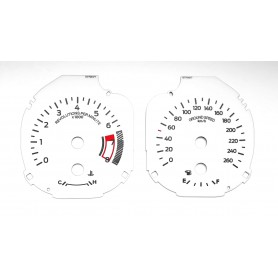 Ford Mustang (from 2015) - custom white replacement instrument cluster MPH to km/h