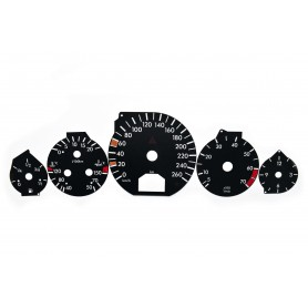 Mercedes R129 - replacement tacho dials, face counter gauges converted from MPH to Km/h