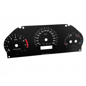 Jaguar XK8 / XKR (X100) - Replacement instrument cluster dials, face counter gauges - converted from MPH to Km/h