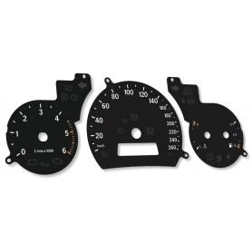 Saab 93 9-3 2gen. - replacement instrument cluster dials, face tacho gauges MPH to km/h
