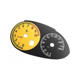 Ferrari 612 Scaglietti - replacement tacho dials, face counter gauges MPH to km