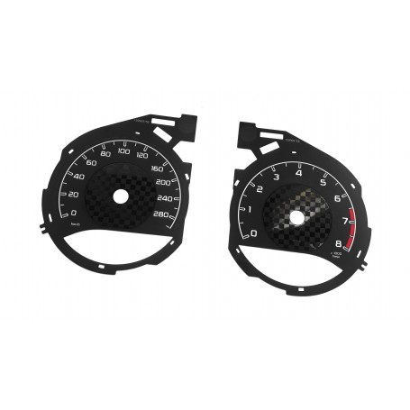 Mercedes W205, C43 for AMG - Chessboard design - Replacement tacho dials - converted from MPH to Km/h