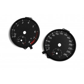 Volkswagen Touran 2 - Replacement tacho dials, face counter gauges - converted from MPH to Km/h