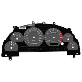 Ford Mustang 1999-2004 replacement tacho face gauge from MPH to km/h