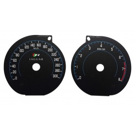 Jaguar XKR, XKR-S - Replacement dials gauges - converted from MPH to Km/h tacho counter