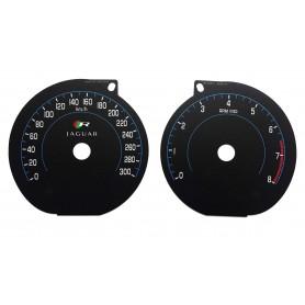 Jaguar XKR, XKR-S - tarcze licznika zamiennik z MPH na km/h