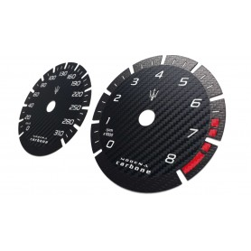 "Maserati Quattroporte 6 ""Modena Carbone"" - Replacement tacho dials gauges - converted from MPH to Km/h counter"