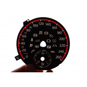 Volkswagen Golf 6 replacement dials in Golf GTI design for standard Golf 6 gauges