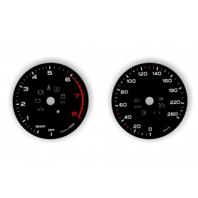 Audi A5 8W F5 Replacement tacho dials, counter gauges faces instrument cluster - converted from MPH to Km/h