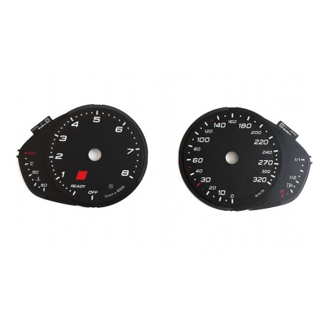 Audi RS6 C7 - replacement tacho dials, counter faces gauges MPH to km/h