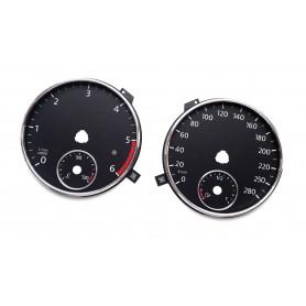 VW Scirocco 3 Przed liftem tarcze licznika, zamiennik zegary z MPH na km/h