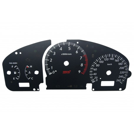 Subaru Impreza (2000-2007) - Replacement tacho dials - converted from MPH to Km/h
