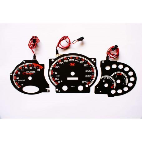 Hyundai Coupe Tiburon 1gen. 1996-2002 wzór 1 świecące tarcze licznika zegary INDIGLO