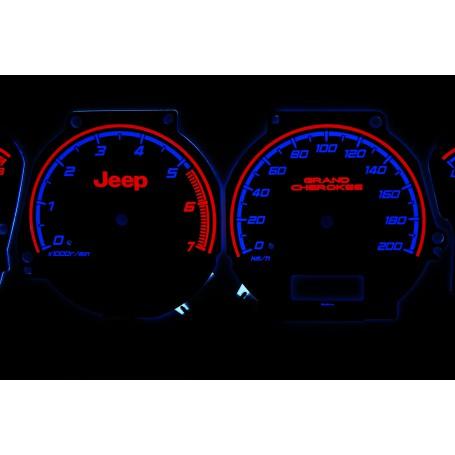 Jeep Grand Cherokee 1999-01 wzór 1 świecące tarcze licznika zegary INDIGLO