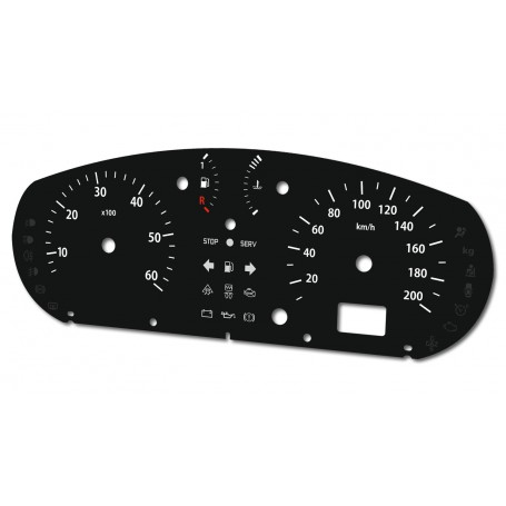 Renault Trafic, Nissan Primastar, Opel Vivaro 2001-2006 Replacement dial - converted from MPH to Km/h