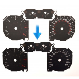 Ford Focus Mk2 lift, C-Max Mk1, Kuga Mk1 - Replacement tacho dial - converted from MPH to Km/h
