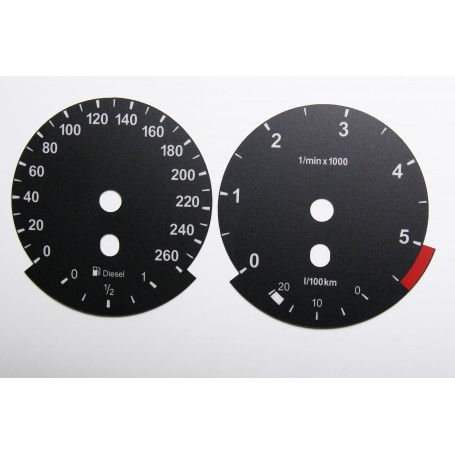 BMW X5 E70, BMW X6 E71, BMW 5 E60, BMW 6 - Replacement tacho dials - converted from MPH to Km/h