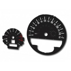 Mini 2, Countryman - Replacement dial tacho dials - black - converted from MPH to Km/h
