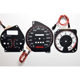 Mazda 323F BG wzór 3 tarcze licznika zegary INDIGLO