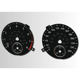 Volkswagen Passat CC - Replacement tacho dials - converted from MPH to Km/h