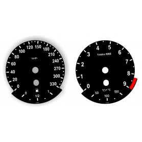 BMW E90, E92, E93 wersja M - zamiennik tarcz licznika z MPH na km