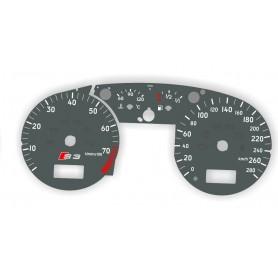 Audi A3/S3 8L0 1996-2003 - zamiennik tarcz licznika z MPH na km