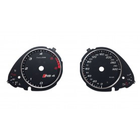 Audi A4 B8, Q5 in RS4 style - replacement tacho dials, counter gauges faces