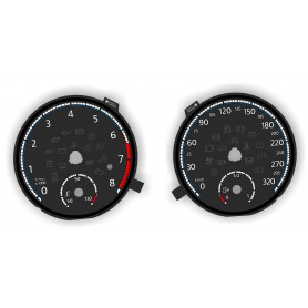 Volkswagen Scirocco R version - Replacement tacho dials, counter gauges faces - converted from MPH to Km/h