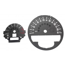 Mini 2, Countryman - Replacement dials, counter faces, gauges - grey - converted from MPH to Km/h