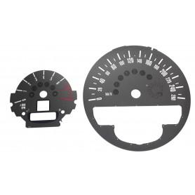 Mini 2, Countryman - tarcze licznika, zegary zamiennik z MPH na km/h (szary)