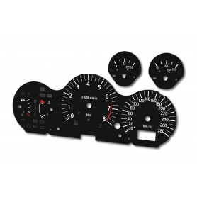 Nissan 350z - replacement tacho dials, counter faces gauges from MPH to km/h