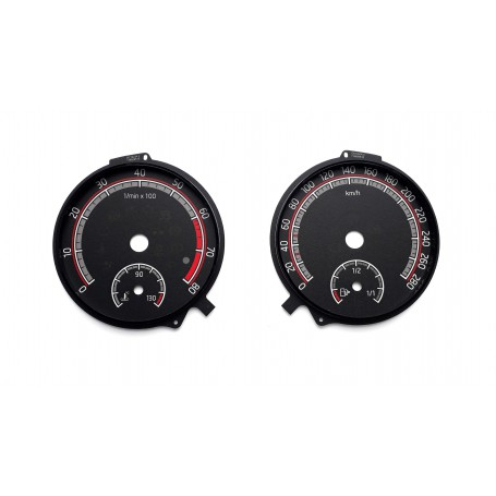 Skoda Octavia 3 RS (2016-now) - replacement tacho dials converted from MPH to Km/h